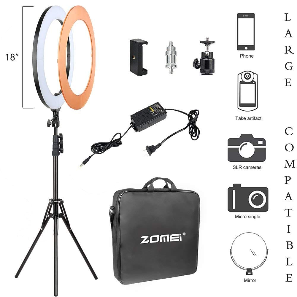 ZoMei Video Lighting Kit 18 inch 55W 5500K Dimmable LED Ring Light for $69.99 AC @Amazon