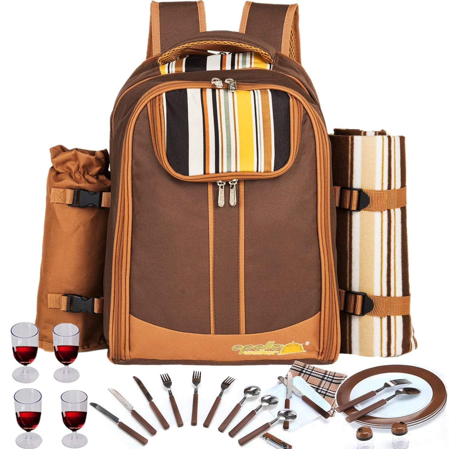 Picnic Backpack Bag for 4 Person With Cooler Compartment, Detachable Bottle/Wine Holder, Fleece Blanket, Plates and Cutlery Set $29.99 AC FS Amazon Prime