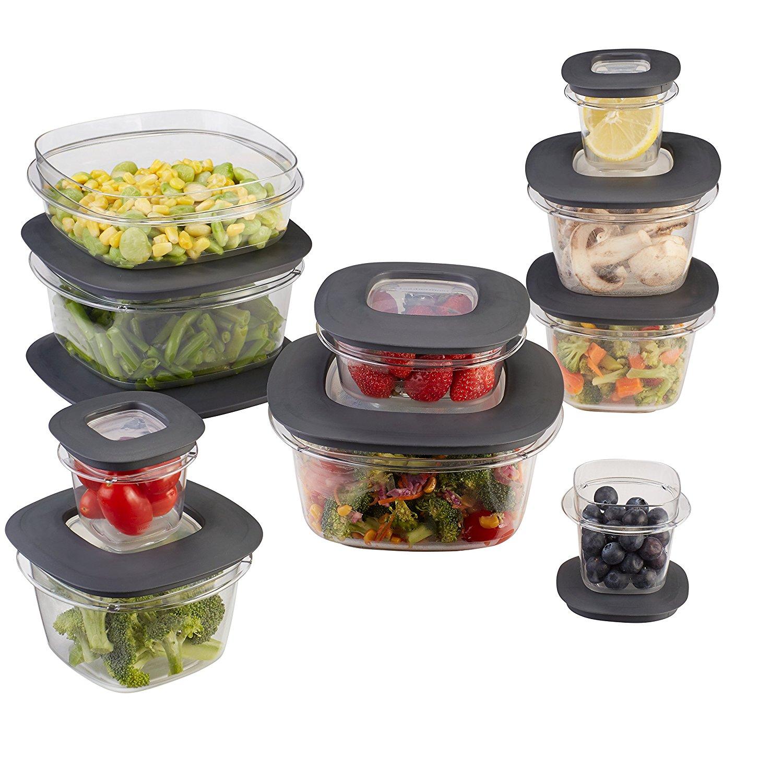 Rubbermaid Premier Food Storage Containers, 20-Piece Set, Grey [Gray, 20-Piece] $21.12