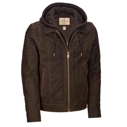 Wilsons Leather Mens Vintage Hooded Genuine Leather Jacket (Black/Brown) $69.99