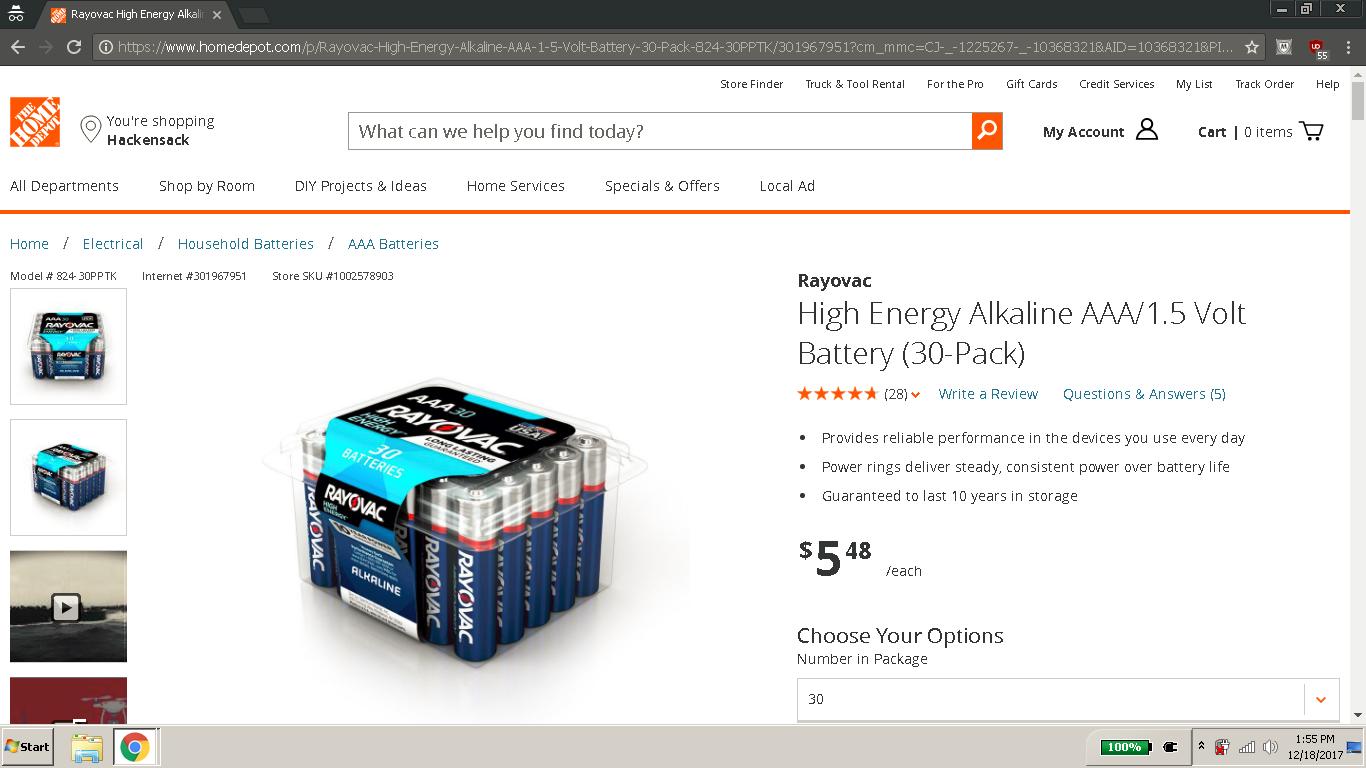 Rayovac Alkaline AAA Battery 30-Pack $5.48