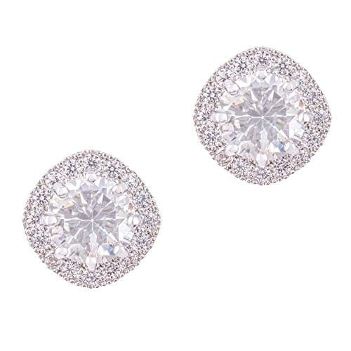 18K White Gold-Plated Cubic Zirconia Earrings $17.99