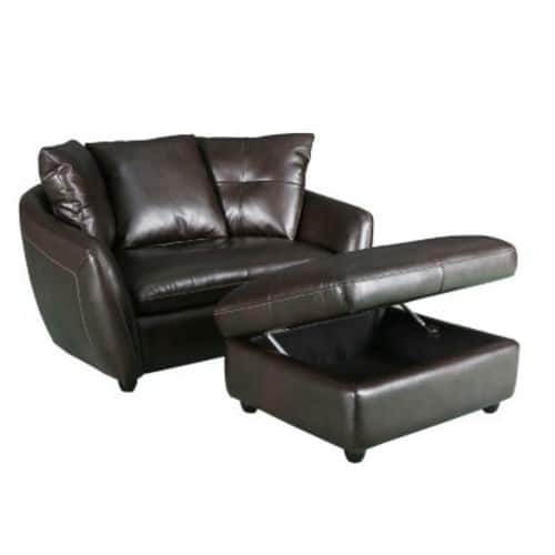 Milano Leather Chair and Storage Ottoman $349