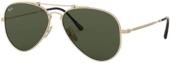 Ray-Ban RB8125 Aviator Titanium Sunglasses Gold w/ Green Lenses $173.97
