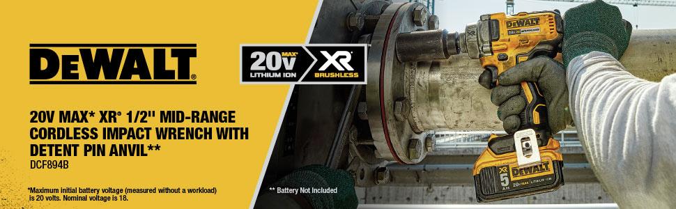 Dewalt DCF894B 20V MAX XR 1/2 in. Mid-Range Cordless Impact Wrench + 5Ah battery $199 FS