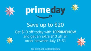 First time Amazon Prime Now user $10 off (+ extra $10 to use later) Select Areas - Prime Members Only