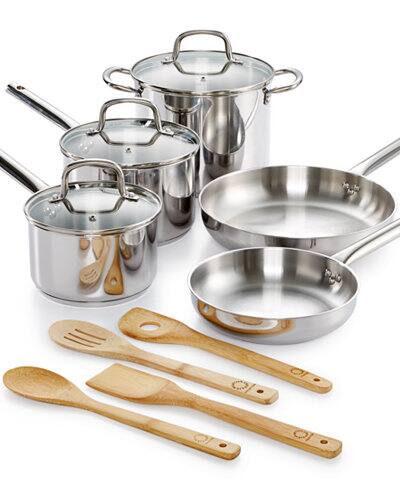 Martha Stewart Collection 12-Pc. Stainless Steel Cookware Set, Only at Macy's $39.99