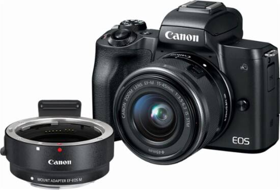 Canon - EOS M50 Mirrorless Camera with EF-M 15-45mm f/3.5-6.3 IS STM and EF-EOS M Lens Mount Adapter $749.98