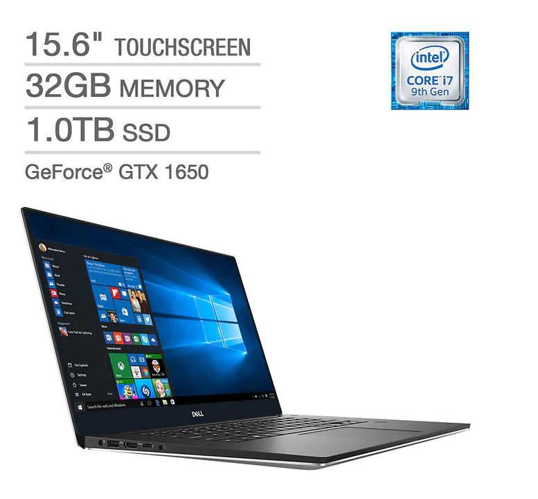 Dell XPS 15 Touchscreen Laptop - 9th Gen Intel Core i7-9750H - GeForce GTX 1650 - 4K Ultra HD $1799.99