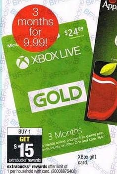 Cvs Black Friday Xbox Live Gold Gift Card 15 Extrabucks Rewards