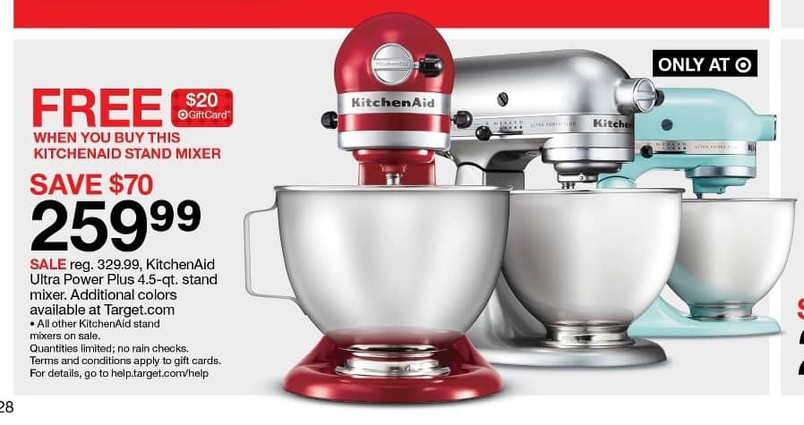target black friday kitchenaid ultra power plus 4 5 qt stand mixer 20 target gift card for. Black Bedroom Furniture Sets. Home Design Ideas