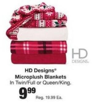 Fred Meyer Black Friday: HD Designs Microplush Blankets for $9.99