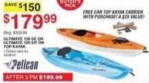 Dunhams Sports Black Friday: Pelican Ultimate 100 SE Kayak + Car Top Kayak Carrier for $179.99