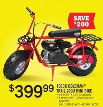 Tractor Supply Co Black Friday: 196CC Coleman Trial 200U Mini Bike for $399.99