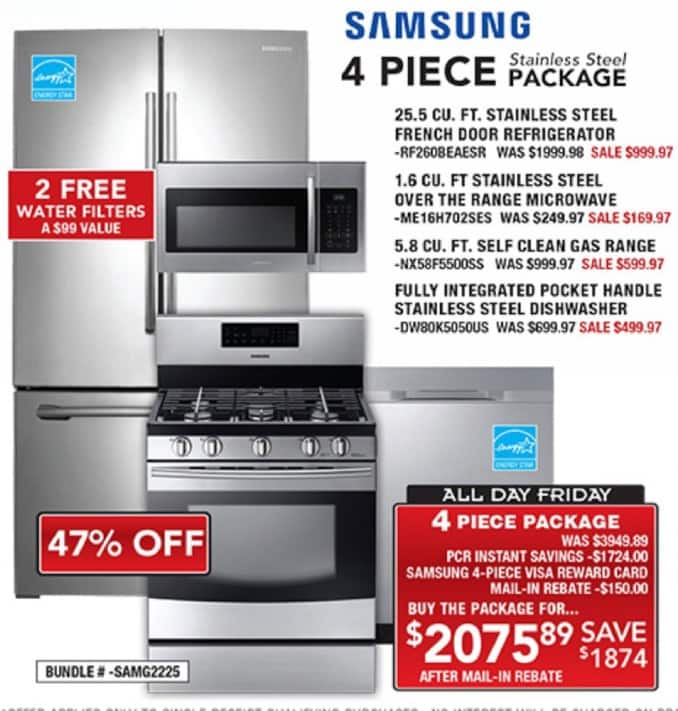 PC Richard & Son Black Friday: Samsung 4 Piece Stainless Steel Appliance Package for $2,075.89