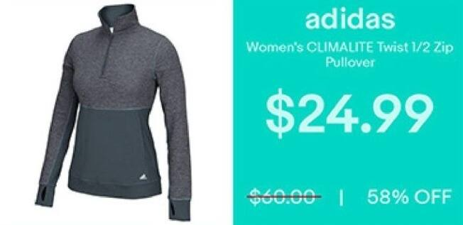 eBay Black Friday: Adidas Women's Climalite Twist 1/2 Zip Pullover for $24.99