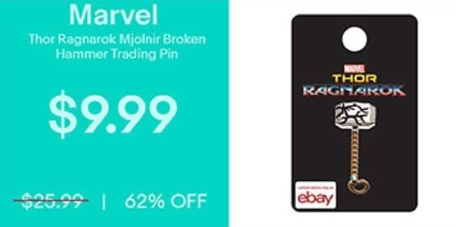 eBay Black Friday: Marvel Thor Ragnarok Mjolnir Broken Hammer Trading Pin for $9.99