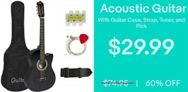 eBay Black Friday: Acoustic Guitar with Case, Strap Tuner and Pick for $29.99
