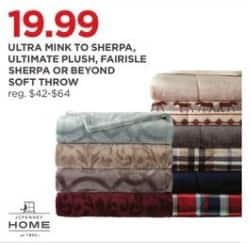 JCPenney Black Friday: JCPenney Home Ultra Mink To Sherpa, Ultimate Plush, Fairisle Sherpa or Beyond Soft Throw for $19.99