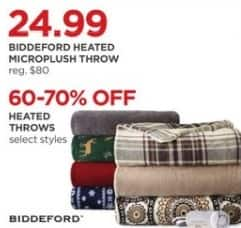JCPenney Black Friday: Biddeford Heated Throws - Select Styles - 60-70% Off