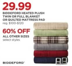 JCPenney Black Friday: Biddeford Heated Plush or Quilted Mattress Pad - Select Styles - 60% Off