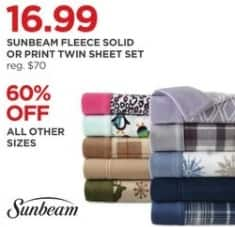 JCPenney Black Friday: Sunbeam Fleece Solid or Print Sheet Set - 60% Off