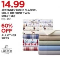 JCPenney Black Friday: JCPenney Home Flannel Solid or Print Sheet Set - 60% Off