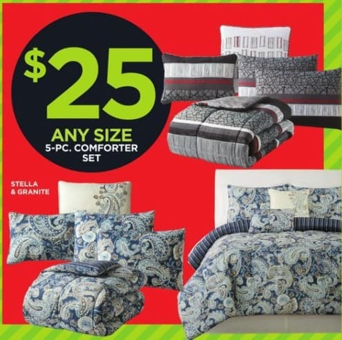 JCPenney Black Friday: 5-Piece Comforter Set - Any Size for $25.00