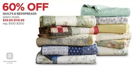 JCPenney Black Friday: Home Expressions Quilts and Bedspreads - Select Styles - 60% Off