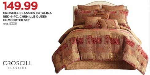 JCPenney Black Friday: Croscill Classics Catalina Red 4-Piece Chenille Queen Comforter Set for $149.99