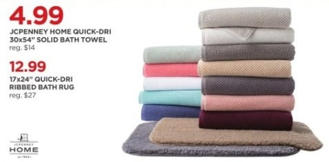"JCPenney Black Friday: JCPenney Home Quick-Dri 30x54"" Solid Bath Towel for $4.99"