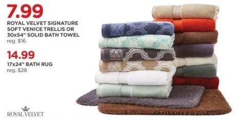 "JCPenney Black Friday: Royal Velvet Signature Soft Venice Trellis or 30x54"" Solid Bath Towel for $7.99"