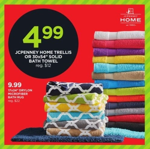 """JCPenney Black Friday: JCPenney Home Trellis or 30x54"""" Solid Bath Towel for $4.99"""
