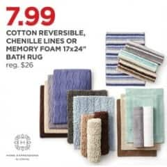 """JCPenney Black Friday: Home Expressions Cotton Reversible Chenille Lines or Memory Foam 17x24"""" Bath Rug for $7.99"""