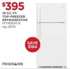 JCPenney Black Friday: Frigidaire 18 cu. ft. FFTR1814TW Top-Freezer Refrigerator for $395.00
