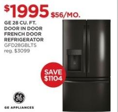 JCPenney Black Friday: GE 28 cu. ft. Door in Door GFD28GBLTS French Door Refrigerator for $1,995.00