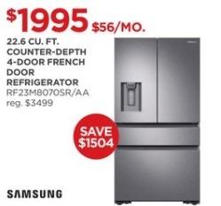 JCPenney Black Friday: Samsung 22.6 cu. ft. Counter-Depth 4-Door RF23M8070SR/AA Refrigerator for $1,995.00