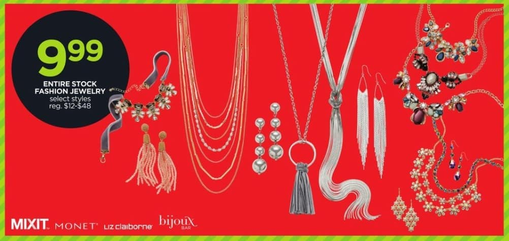 JCPenney Black Friday: Entire Stock Fashion Jewelry, Select Styles by Mixit, Monet, and Liz Claiborne for $9.99