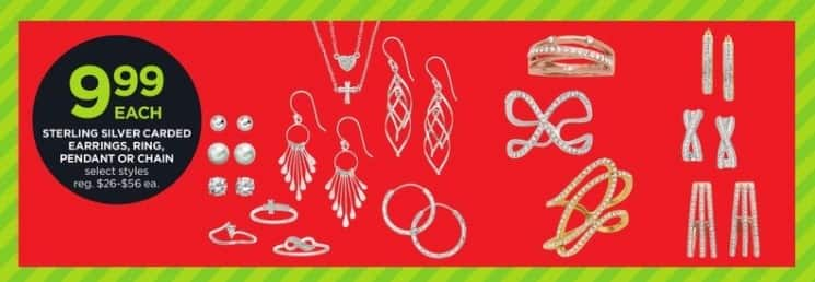 JCPenney Black Friday: Sterling Silver Carded Earrings, Ring, Pendant or Chain, Select Styles for $9.99