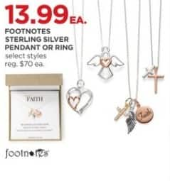 JCPenney Black Friday: Footnotes Sterling Silver Pendant or Ring for $13.99