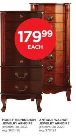 JCPenney Black Friday: Monet Birmingham Jewelry Armoire for $179.99