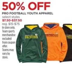 JCPenney Black Friday: Pro Football Youth Apparel, Select Styles for $7.50 - $37.50