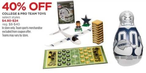 JCPenney Black Friday: College and Pro Team Toys, Select Styles for $4.80 - $24.00