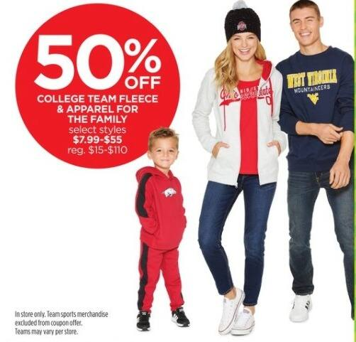 JCPenney Black Friday: College Team Fleece and Apparel for the Family, Select Styles for $7.99 - $55.00