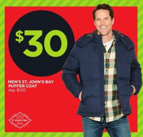 JCPenney Black Friday: St. John's Bay Men's Puffer Coat for $30.00