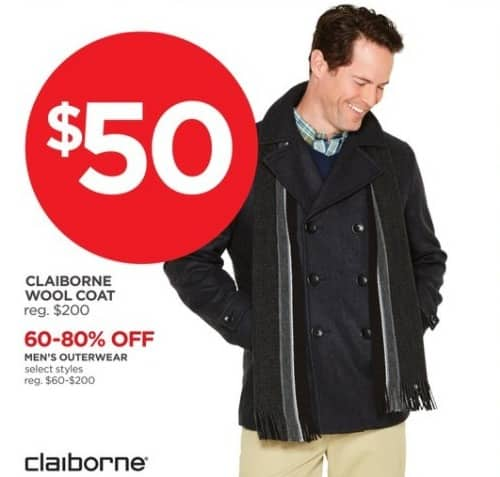 JCPenney Black Friday: Claiborne Wool Coat for $50.00