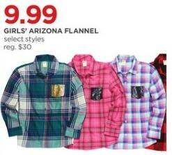 JCPenney Black Friday: Arizona Girls' Flannel, Select Styles for $9.99