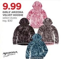 JCPenney Black Friday: Arizona Girls' Velvet Hoodie, Select Styles for $9.99