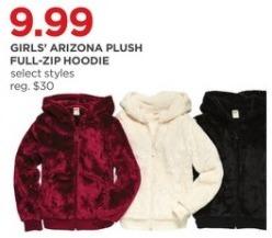JCPenney Black Friday: Arizona Girls' Plush Full-Zip Hoodie, Select Styles for $9.99