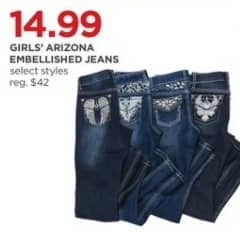 JCPenney Black Friday: Arizona Girls' Embellished Jeans, Select Styles for $14.99